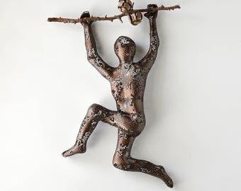 Metal wall art - Climbing man sculpture on tree branch - sports art - housewarming - wall decor