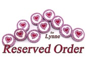 RESERVED for Lynne- round flat polymer clay beads with stripes and heart pattern, set of 10