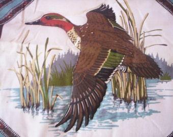 Quilt block fabric/Fall bird Fabric panel/Duck fabric panel/Bird fabric/paisley fall fabric panel/Holiday Fabric/17'' by 18'' fabric panel