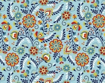 Posey in Aqua by Betz White for Riley Blake Juxtaposey Collection Aqua Floral Folk Floral Scandinavian Inspired Floral Fabric Red Floral
