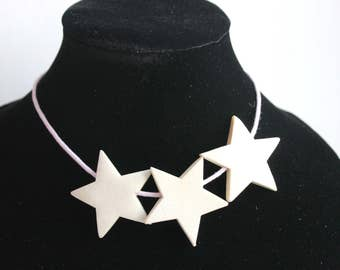 Set of 5 star-beads made from beech tree - eco-friendly wooden stars