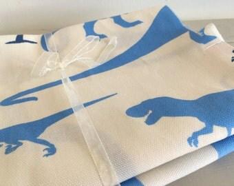 Fabric bundle of blue dinosaur print