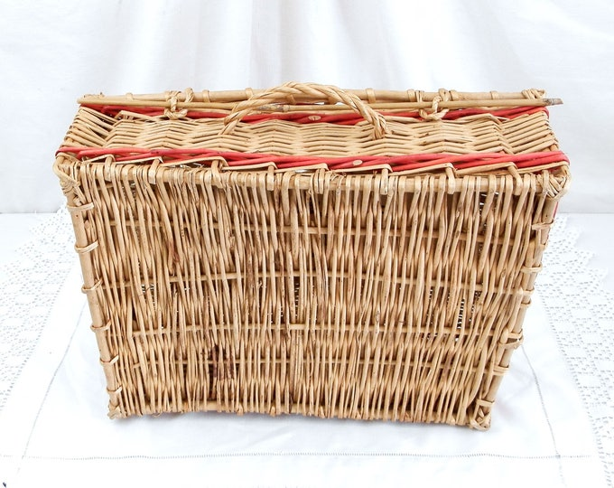 Antique French Champagne Basket by Moet & Chandon for 3 Bottles made of Woven Wicker, Champagne Hamper, Champagne Breakfast, Wedding