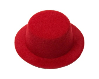 "5"" Red Mini Top Hat Fascinator Base - Available in 14 Colors"
