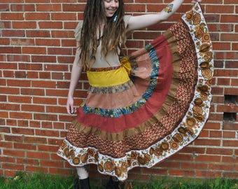 Earth Rainbow Tiered Maxi Skirt  // Ooak Handmade Hippie Spinner Skirt