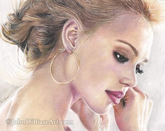 Print of Colored Pencil Drawing of Jessica Alba (8.5 x 11)