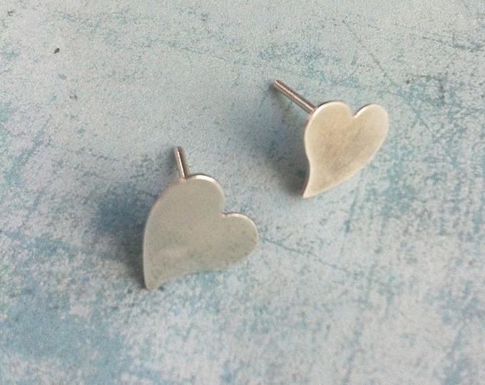 Asymmetrical silver earrings heart shape - simple earrings - valentine gift earrings - stud earrings - minimalist jewelry - heart jewelry