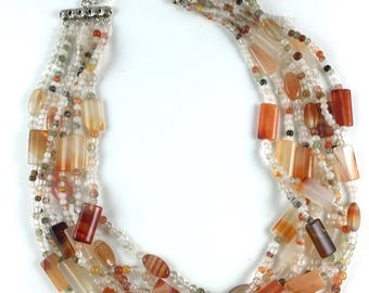 Gemstone and Carnelian Necklace, Seven Strand Gemstone and Carnelian Necklace, Shades of Orange Necklace, Feminine Carnelian and Gemstones