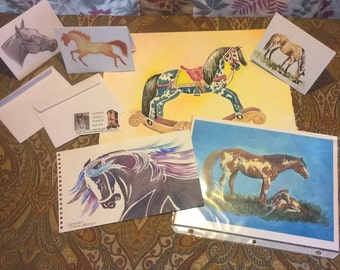 Horse Lover's Grab Bag with variety of  horse art: paintings, prints, note cards and more.