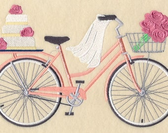 Here Comes the Bride Bicycle Embroidered on Made-to-Order Pillow Cover