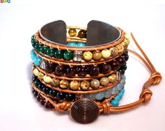 SALE - 25% Off Original Price Premium Multi-Gemstone Five Row Leather Wrap Bracelet with Copper Button, JEWELRY