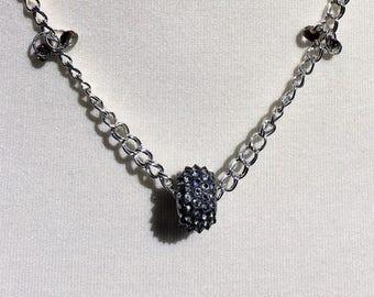 Sterling Silver Swarovski Crystal Spike Necklace, Amethyst Crystal Sterling Silver Necklace, Handmade Sterling Silver & Swarovski Necklace
