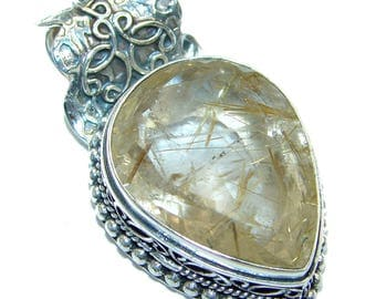 Golden Rutilated Quartz Sterling Silver Pendant - weight 16.30g - dim L - 1 5 8, W - 7 8, T - 3 16 inch - code 1-maj-17-37