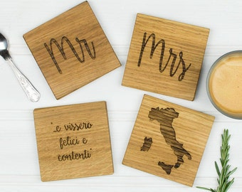 Personalised Set Of Four Wedding Coasters