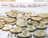 SUPER WINTER SALE Love Wood Hearts, Wood Confetti Engraved Love Hearts- Rustic Wedding Decor- Table Decorations- Tiny Wooden Hearts