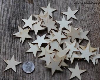 "50 Small 1-1/2 inch Mini Wood Stars, Wood Confetti - Rustic Wedding Decor- Table Decorations- Wooden Stars-  1.5"" DIY Craft Stars US Flag"