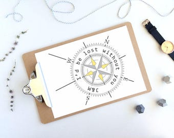Personalised Compass Print with quote, Initials, Engagement Gift, Nautical Print, Grey and Yellow, Beach Wedding Gift, Guy gift