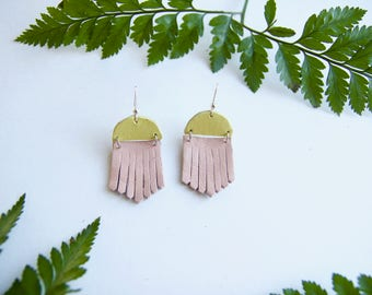 Leather Fringe Statement Earrings - Pink Blush Chartreuse Yellow Bright Bold Summer Spring Dangle