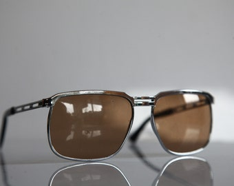 Vintage Sunglasses Chrome Frame,  Brown Lenses.