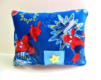 Spiderman Tooth Fairy Pillow, Boys Red and Blue Pillow, Pocket Pillow , Spiderman Decor, Boys Room Decor, Can Be PERSONALIZED