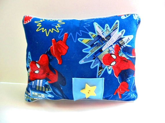 Custom Squishy Pillows : Spiderman Tooth Fairy Pillow Boys Red and Blue Pillow Pocket