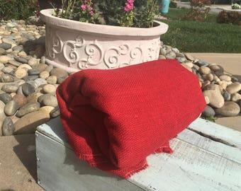 Red burlap. Huge burlap piece. Colored burlap. Jute - fabric remnants. Clearanced burlap