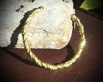 Twisted brass torc bracelet small