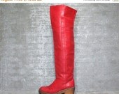 25% OFF Vtg 70s Red Leather Charles Jourdan OTK Thigh High Boho Campus Boots 6