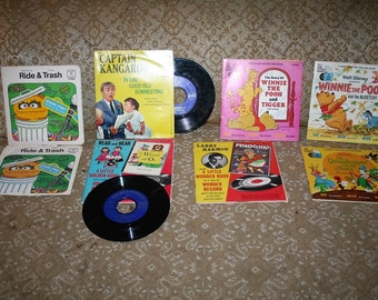 Vintage 1970s Lot of SEE & HEAR 45 rpm Records!  Pinocchio / Winnie the Pooh / Grasshopper and the Ants / Captain Kangaroo / Oscar Grouch!