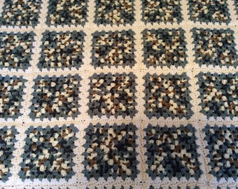 Blues, Brown and Beige Granny Square Afghan