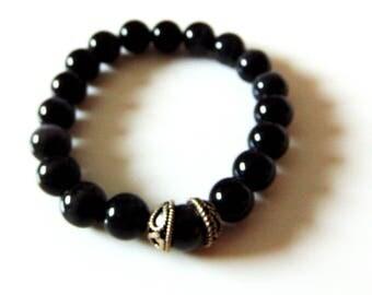 Men's Black Cats Eye Bracelet