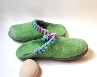 Greenery felted slippers-made to order
