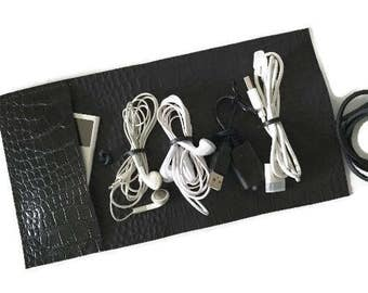 leather cord organizer with pocket cord holder cable organizer cord roll cable