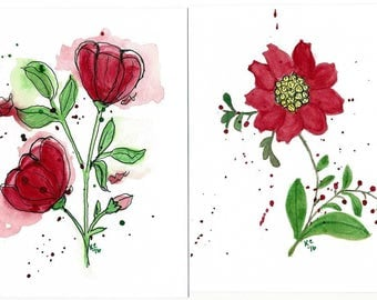 Pair of Original Watercolor Paintings of Red Flowers - Abstract Flowers - Not a Print