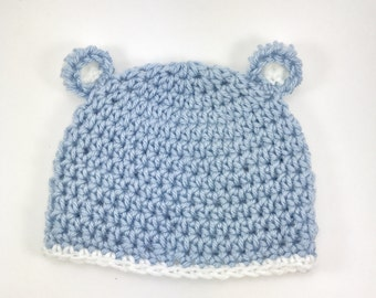 crochet baby bear hat, baby boy hat, crochet baby hat, bear hat, blue hat