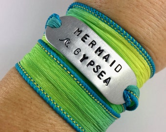 Mermaid Gypsea Wave Bracelet Hand Stamped Silk Wrap - Beach Babe Bracelet Ocean Inspired Sea  Jewelry - Surf Jewelry - SUP Yoga Jewelry