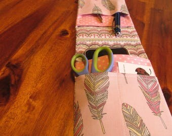 Pink Nurse Organizer, Feather Pocket Organizer, Bag Organizer