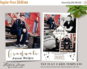 ON SALE Senior Graduation Card ,Photoshop Template,Photography Template , Photo Card Template,sku gr16-4