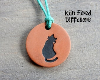 Black Kitty Cat Essential Oil Aromatherapy Terracotta Clay Diffuser Necklace Pendant Adjustable Ceramic Terra Cotta Pendent Jewelry