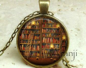 Book pendant, book necklace, book jewelry, library necklace, bookshelf pendant, gift for bookworm Pendant#HG231BR