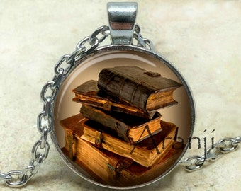 Book pendant, book necklace, book jewelry, books, library necklace, library pendant, bookshelf necklace, Pendant #HG237P