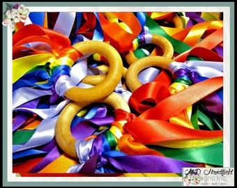 Satin Rainbow Waldorf Wind Wand Party Pack 10 Sensory Toys - Wood and Ribbon - Canada -  Sensory Ribbon And Wood Hand Kite FREE SHIPPING