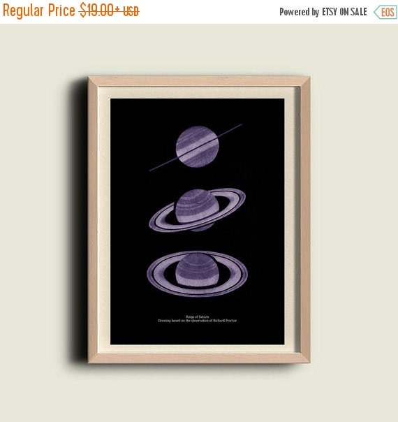 SALE 15% OFF Rings of Saturn Planet Astronomy Print