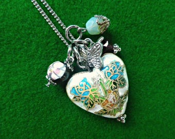 Cloisonne heart pendant with tiny charms, 16 inches silver tone adjustable chain with extender, signed A, lobster clasp, purple gift box
