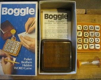 Boggle Game-1973 Vintage Game-Wooden Letter Dice-Vintage Boggle Game-Wooden Letters-Boggle Parker Brothers Game