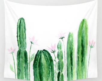 Floral Cactus Wall Tapestry, floral cactus tapestry, dorm room decor, floral wall tapestry, cactus flowers, flower wall tapestry
