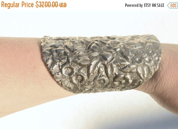 SALE 40% OFF Antique Art Nouveau Bracer Floral Solid Sterling Silver Very Wide Cuff Bracelet 925 .925 Armor Warrior Spoon Ring Gladiator Flo