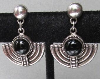 Art Deco Revival Vintage 1970's Modernist Sterling Silver & Black Onyx Dangle Pierced Earrings
