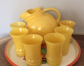 Vintage 1950's Yellow Ball Tilt Ice Lip Pitcher and 6 Glasses