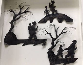 Rustic Shabby Chic Metal Wall Art-Wrought Iron Wall Decor-Fairytale Art-Spooky Window Display